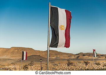 Egyptian flag on flagpole - Waving Vertical Egyptian flag on...