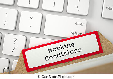 Index Card with Working Conditions. 3D. - Working Conditions...
