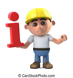 3d Construction worker has info - 3d render of a...