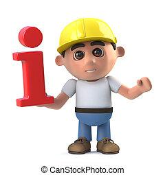 3d Construction worker has info - 3d render of a...