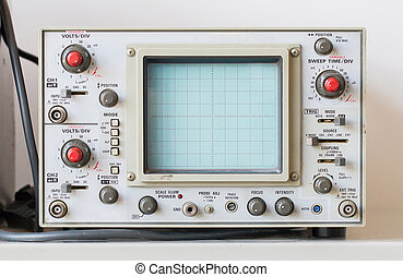 Old oscilloscope, technical equipment, blank screen no graph...