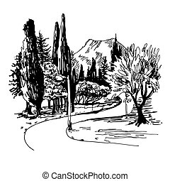 sketching of park alley view with trees cypress and mountain in