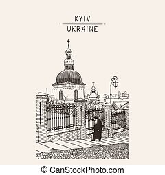 drawing of historical building landscape of ukrainian church...