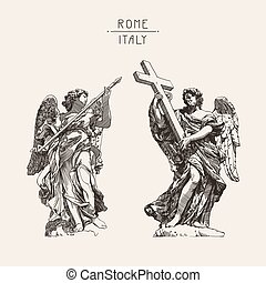 drawing of marble statue of two angels from the Sant'Angelo...