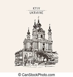 drawing of Saint Andrew orthodox church by Rastrelli in Kyiv...
