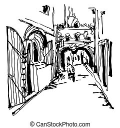 ink sketching of historic narrow cobbled street in Budva...