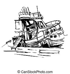 black and white ink sketch drawing of boat in marine, travel...