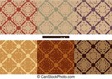 Seamless floral pattern collection Vintage color style...