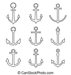 Set of anchors line style