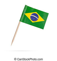 Miniature Flag Brasil. Isolated on white background -...