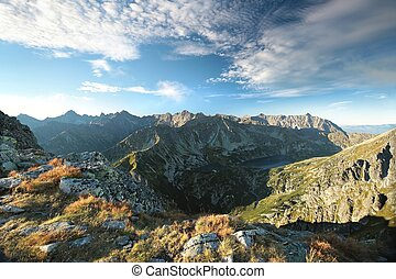 Tatra Mountains at dawn - View from the Krzyzne Pass. Polish...