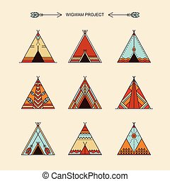 Wigwams with ornamental elements. Line style. Boho elements....