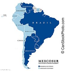 MERCOSUR Southern Common Market countries info map, also...