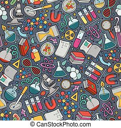 Cartoon cute hand drawn Science seamless pattern. Colorful...