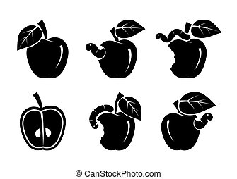 apple and worm. set of black icons