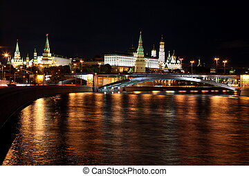 Famous and Beautiful Night View of Moskva river, Big Stone...