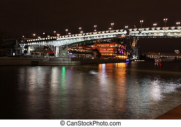 Moskva river with Patriarch Bridge in the summer, Moscow ,...