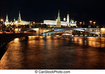 Moscow Kremlin Palace with Churches, Moskva river and Big...