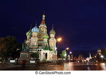 Night view of Intercession Cathedral St. Basil's on Red...