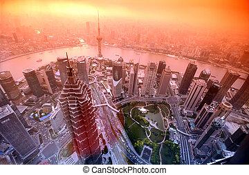 Sundown at Shanghai , China
