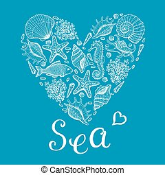 Sea heart. Original hand drawn illustration in vintage style