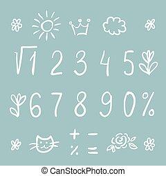 Hand drawn thin font - Hand drawn thin digits, symbols and...
