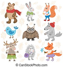 Cute forest animals - Set of nine cute forest animals on...