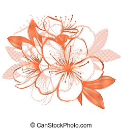 Cherry blossom - Decorative floral illustration of cherry...