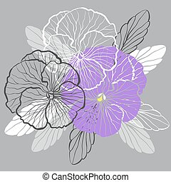 Pansies - Decorative floral background with flowers of pansy