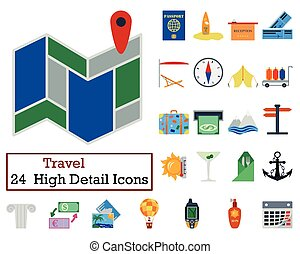 Set of 24 Travel Icons. Flat color design. Vector...