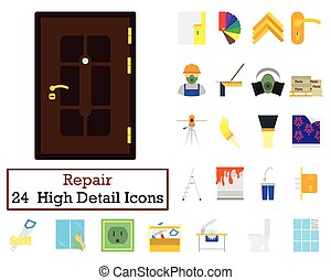 Set of 24 Housing repairs Icons. Flat color design. Vector...