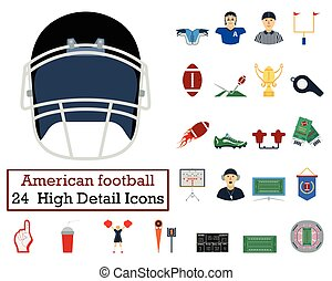 Set of 24 American football Icons. Flat color design. Vector...
