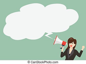 Business woman holding a megaphone with bubble word Vector...