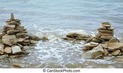 Sea surf on rocks nature - Slow motion video of the surf on...