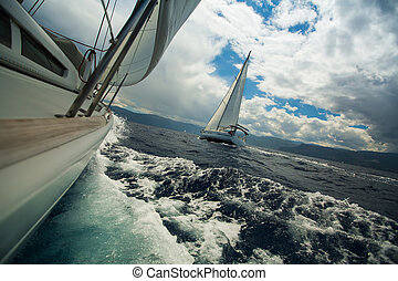 Sailing ship luxury yachts during a race regatta in the Sea...