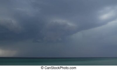 Thunderstorm. A storm warning - The sky is overcast and the...
