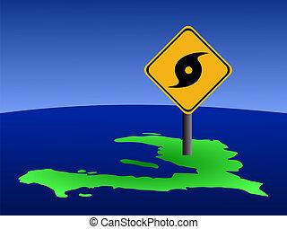 Haiti map with hurricane sign