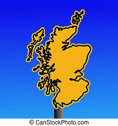 Scotland map warning sign