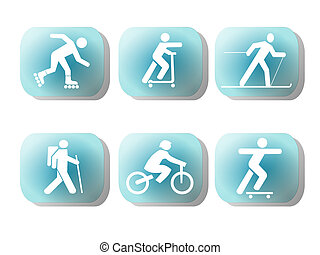 exercising silhouettes buttons - exercising figure...