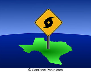 Texas map with hurricane sign - hurricane warning sign on...