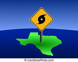 Texas, mapa, furacão, sinal