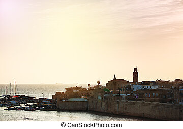 Old city of Akko at the sunset Israel, sea port