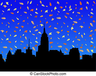 Manhattan skyline in autumn - Midtown manhattan skyline in...