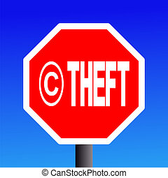 stop Copyright theft sign on blue sky illustration