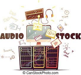 Microstock Audio Concept Retro Cartoon Illustration - Audio...