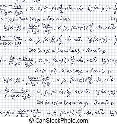 Seamless pattern with trigonometric formulas, notepad list