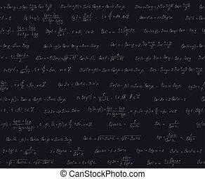 Seamless pattern with trigonometric formulas, black desk
