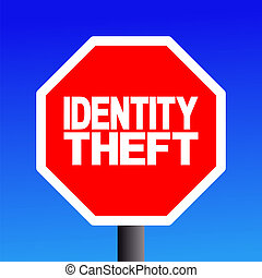 stop Identity theft sign on blue sky illustration