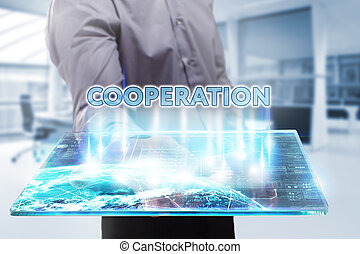 Business, Technology, Internet and network concept. Young businessman working on a tablet of the future, he sees the inscription: cooperation