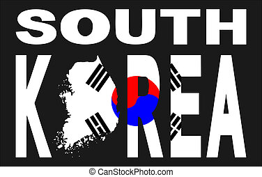 South Korea with map and flag